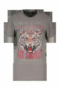Womens Wild Thing Embellished Slogan T-Shirt - grey - M, Grey