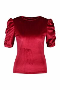 Womens Velvet Puff Sleeve Top - red - 8, Red