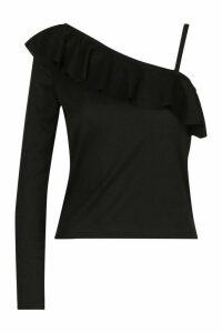 Womens Rib One Shoulder Ruffle Top - black - 8, Black
