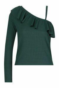 Womens Rib One Shoulder Ruffle Top - Green - 8, Green