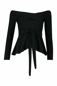 Womens Rib Cross Over Long Sleeve Tie Waist Top - black - 8, Black
