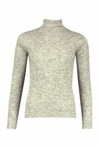 Womens Ribbed Roll Neck Jumper - silver grey - M, Silver Grey