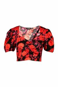 Womens Satin Jacquard Puff Sleeve Wrap Blouse - red - 16, Red