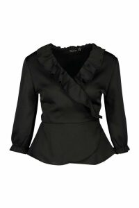 Womens Satin Ruffle Wrap Top - black - 12, Black