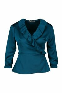 Womens Satin Ruffle Wrap Top - green - 10, Green