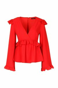 Womens Frill Detail Smock Top - red - 8, Red