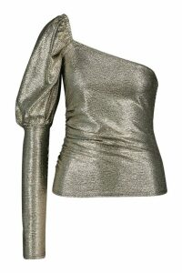 Womens Metallic One Shoulder Puff Sleeve Top - metallics - 12, Metallics
