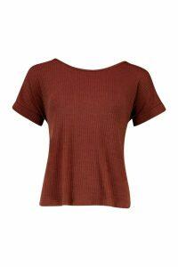 Womens Button Detail Soft Rib T-Shirt - brown - 14, Brown
