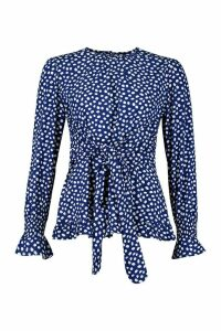 Womens Woven Polka Dot Tie Front Top - blue - 16, Blue