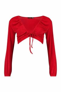 Womens Soft Slinky Tie Up Ruched Crop Top - red - 14, Red