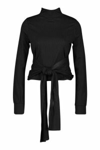 Womens High Neck Ribbed Tie Waist Long Sleeve Top - black - 6, Black