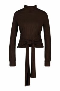 Womens High Neck Ribbed Tie Waist Long Sleeve Top - brown - 6, Brown