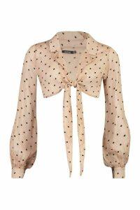 Womens Woven Polka Dot Tie Front Shirt - Beige - 14, Beige