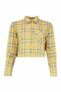 Womens Yellow Check Boxy Crop Shirt - 14, Yellow