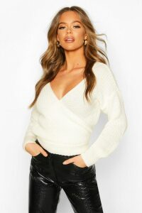 Womens Wrap Knitted Jumper - white - M, White