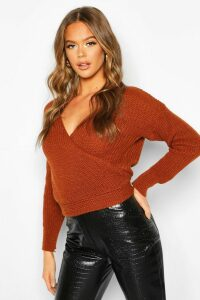 Womens Wrap Knitted Jumper - brown - M, Brown