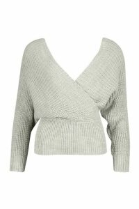 Womens Rib Knit Wrap Knitted Jumper - grey - L, Grey