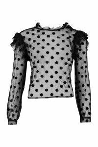 Womens Spot Organza Mesh Frill Blouse - black - 10, Black