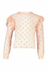 Womens Spot Organza Mesh Frill Blouse - pink - 14, Pink