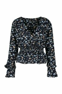 Womens Woven Ditsy Ruffle Detail Blouse - Navy - 8, Navy