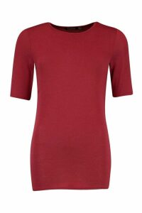 Womens Soft Knit Crew Neck Longline Top - red - 8, Red