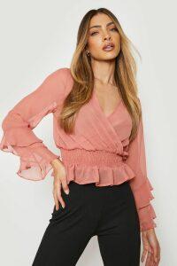 Womens Woven Chiffon Ruffle Detail Blouse - pink - 12, Pink