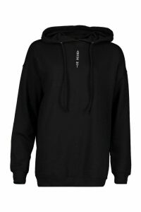 Womens Slogan Front Oversized Hoody - black - 14, Black