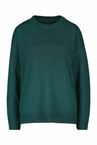 Womens Boxy Crew Neck Jumper - green - S, Green