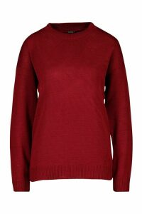 Womens Boxy Crew Neck Jumper - red - S, Red