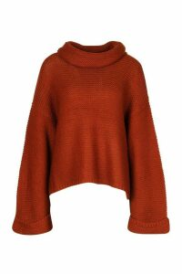 Womens Cowl Neck Jumper With Split Side Seam - orange - XS, Orange