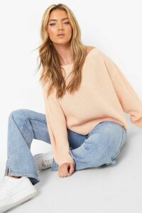 Womens Off The Shoulder Slouchy Jumper - pink - M, Pink