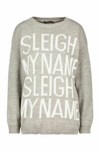 Womens Sleigh My Name Slogan Christmas Jumper - grey - S/M, Grey