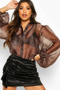 Womens Leopard Organza Puff Sleeve Shirt - Brown - 14, Brown