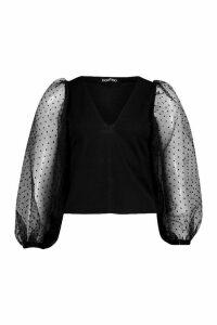 Dobby Organza Mesh Sleeve Blouse - black - 12, Black