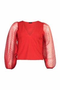 Dobby Organza Mesh Sleeve Blouse - red - 12, Red