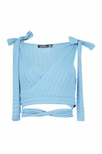 Womens Recycled Rib Tie Detail Crop Top - blue - 14, Blue
