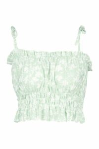 Womens Recycled Floral Print Shirred Top - green - 16, Green