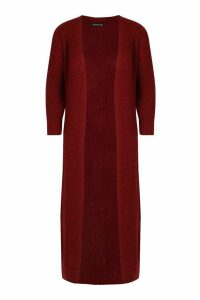 Womens Knitted Maxi Cardigan - red - S, Red