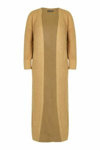 Knitted Maxi Cardigan - beige - M, Beige