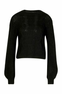 Cable Knit Balloon Sleeve Jumper - black - M/L, Black