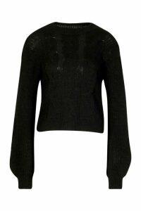 Womens Cable Knit Balloon Sleeve Jumper - black - M/L, Black