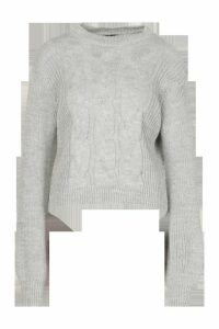 Cable Knit Balloon Sleeve Jumper - grey - M/L, Grey