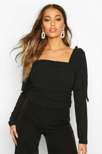 Womens Mesh Ruched Tie Shoulder Top - black - M, Black