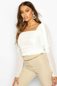 Womens Mesh Ruched Tie Shoulder Top - white - M/L, White