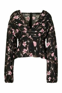 Womens Woven Floral Oversized Sleeve Blouse - black - 10, Black