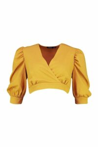 Womens Extreme Puff Sleeve Top - Yellow - 14, Yellow