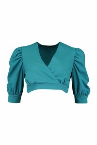 Womens Extreme Puff Sleeve Top - green - 12, Green