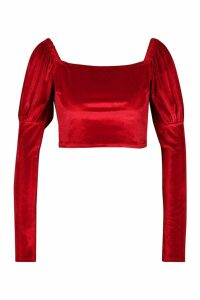 Womens Velvet Square Neck Puff Sleeve Crop Top - red - 14, Red