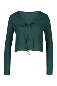 Womens Ribbed Tie Front Cardigan - green - 14, Green
