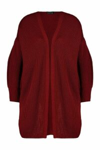 Womens Balloon Sleeve Knitted Cardigan - red - L, Red
